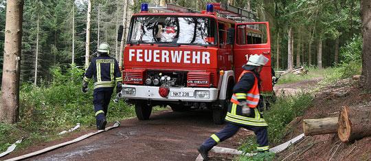 Bild: Brandbekämpfung und Menschenrettung geübt: Waldbrandübung im Löschbezirk Eppelborn