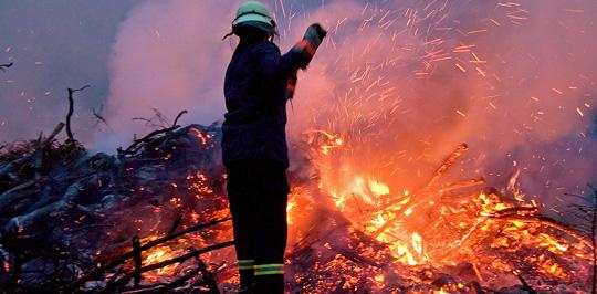 Bild: Haufen mit Grünschnittabfällen brannte in Humes