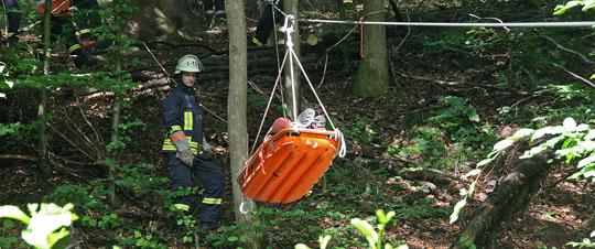 Bild: Verletzter Arbeiter mit Seilbahn aus Wald gerettet